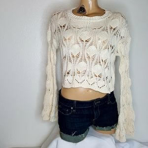Nasty Gal cream open knit cropped sweater S
